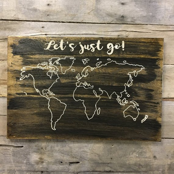 Wood World Map and US Map set of 2